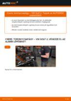 Elülső toronycsapágy-csere VW Golf 2 gépkocsin – Útmutató