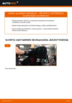Kuinka vaihtaa ja säätää Kallistuksenvakaajan kumit VW GOLF: pdf-opas