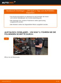 Wie der Wechsel durchführt wird: Domlager 1.8 GTI VW GOLF II (19E, 1G1) tauschen