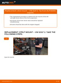 How to carry out replacement: Strut Mount on 1.8 GTI VW GOLF II (19E, 1G1)
