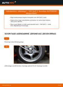 Kuidas välja vahetamist läbi viia: 1.8 GTI VW GOLF II (19E, 1G1) Rattalaager