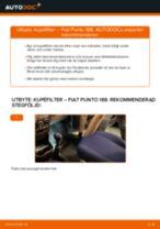 Byta kupéfilter på Fiat Punto 188 bensin – utbytesguide