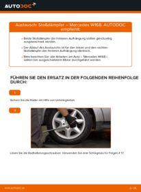 Wie der Wechsel durchführt wird: Stoßdämpfer A 140 1.4 (168.031, 168.131) Mercedes W168 tauschen
