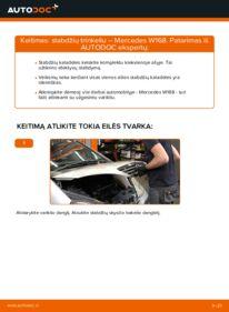 Kaip atlikti keitimą: A 140 1.4 (168.031, 168.131) Mercedes W168 Stabdžių Kaladėlės