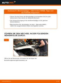Wie der Wechsel durchführt wird: Bremsbeläge A 140 1.4 (168.031, 168.131) Mercedes W168 tauschen
