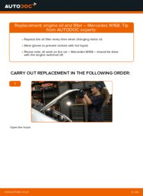 How to carry out replacement: Oil Filter on A 140 1.4 (168.031, 168.131) Mercedes W168
