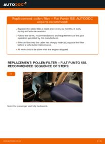 How to carry out replacement: Pollen Filter on 1.2 60 Fiat Punto 188