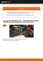 VW Bremszange hinten links selber auswechseln - Online-Anleitung PDF