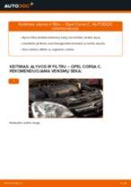 Kaip pakeisti Opel Corsa C dyzelis variklio alyvos ir alyvos filtra - keitimo instrukcija