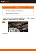Gratis instruksjoner på nett for bytte Oljefilter OPEL CORSA C (F08, F68)