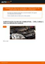 Como mudar filtro de combustível em Opel Corsa C diesel - guia de substituição