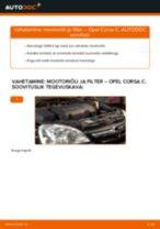 Paigaldus Õlifilter OPEL CORSA C (F08, F68) - samm-sammuline käsiraamatute