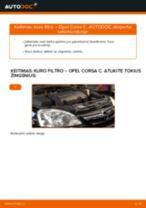 Kaip pakeisti Opel Corsa C dyzelis kuro filtro - keitimo instrukcija