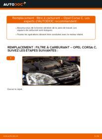 Comment effectuer un remplacement de Filtre à Carburant sur 1.2 (F08, F68) Opel Corsa C