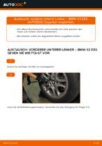Einbau von Lenker Radaufhängung beim BMW X3 (E83) - Schritt für Schritt Anweisung