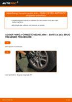 Hvordan skifter man og justere Bærearm BMW X3: pdf manual