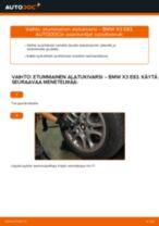 Kuinka vaihtaa ja säätää Tukivarsi BMW X3: pdf-opas