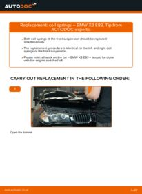 How to carry out replacement: Springs on 2.0 d BMW X3 E83