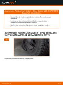 Wie der Wechsel durchführt wird: Radbremszylinder 1.0 i 12V (F08, F68, M68) Opel Corsa S93 tauschen