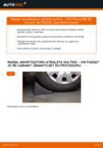 Kā nomainīt: aizmugures amortizatoru atbalsta gultņi VW Passat 3C B6 Variant - nomaiņas ceļvedis
