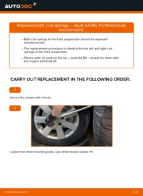 How to carry out replacement: Springs on 1.9 TDI Audi A4 b6
