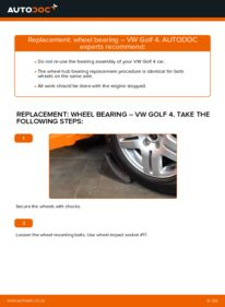How to carry out replacement: Wheel Bearing on 1.4 16V Golf 4