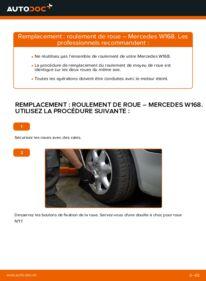 Comment effectuer un remplacement de Roulement De Roues sur A 140 1.4 (168.031, 168.131) Mercedes W168