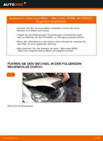 Wie der Wechsel durchführt wird: Innenraumfilter A 140 1.4 (168.031, 168.131) Mercedes W168 tauschen