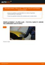 Comment changer : filtre à air sur Toyota Yaris P1 - Guide de remplacement