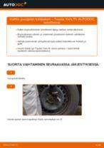Kuinka vaihtaa jousijalan tukilaakeri eteen Toyota Yaris P1-autoon – vaihto-ohje