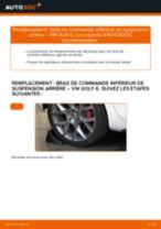 Comment changer : bras de commande inférieur de suspension arrière sur VW Golf 6 - Guide de remplacement