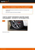 Byta undre tvärgående länkarm i bakre upphängning på VW Golf 6 – utbytesguide