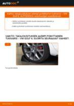 Kuinka vaihtaa takajousituksen alempi poikittainen tukivarsi VW Golf 6-autoon – vaihto-ohje