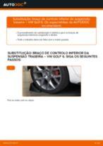 Como mudar braço de controlo inferior da suspensão traseira em VW Golf 6 - guia de substituição