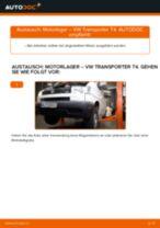 Wechseln von Hydrolager Instruktion PDF für VW TRANSPORTER