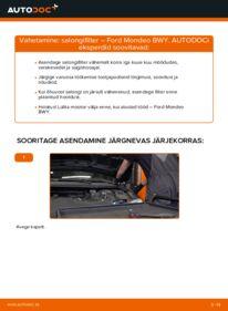 Kuidas välja vahetamist läbi viia: 2.0 16V Ford Mondeo bwy Salongifilter
