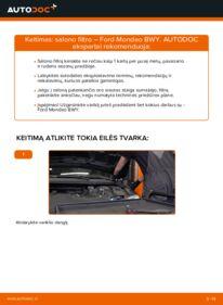 Kaip atlikti keitimą: 2.0 16V Ford Mondeo bwy Oro filtras, keleivio vieta