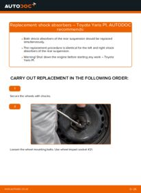 How to carry out replacement: Shock Absorber on 1.0 (SCP10_) Toyota Yaris p1