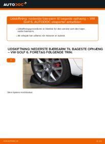 Hvordan man udfører udskiftning af: Bærearm på 1.6 TDI Golf 6