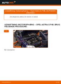 Hvordan man udfører udskiftning af: Motorophæng på 1.6 16V (F08, F48) Opel Astra g f48