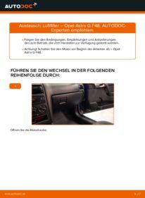 Wie der Wechsel durchführt wird: Luftfilter 1.6 16V (F08, F48) Opel Astra g f48 tauschen