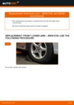 Step by step PDF-tutorial on Control Arm BMW 5 (E39) replacement