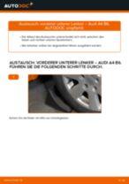 AUDI A4 (8E2, B6) Querlenker wechseln vorne unten hinten ( links + rechts ) Anleitung pdf