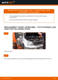 How to carry out replacement: Control Arm on 3.0 D-4D Toyota Prado J120