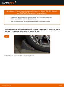 Wie der Wechsel durchführt wird: Querlenker 1.9 TDI Audi A4 B6 Avant tauschen