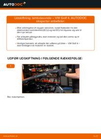 Hvordan man udfører udskiftning af: Lambdasonde på 1.4 16V Golf 4