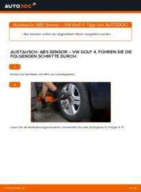 Wie der Wechsel durchführt wird: ABS Sensor 1.4 16V Golf 4 tauschen