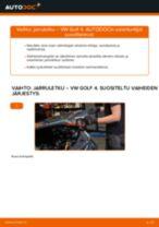 Automekaanikon suositukset VW Golf 4 1.6 -auton Jarrupalat-osien vaihdosta