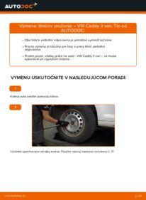 Ako vykonať výmenu: Tlmič pruzenia na 1.9 TDI VW Caddy 3 Van