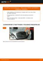 Slik bytter du bremseklosser fremme på en Mercedes W210 – veiledning